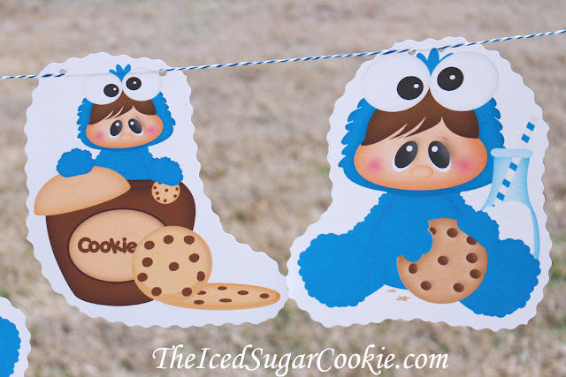 Baby Cookie Monster Birthday Party DIY Banner Flag Bunting Idea-Milk and Cookie Birthday Party Banner