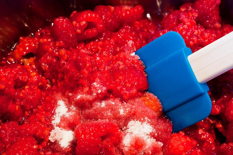 Making Raspberry Jam - Stirring In Sugar