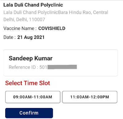 Choose Time Slot for Vaccination Center