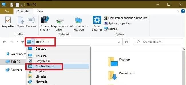 طرق لفتح لوحة التحكم في نظام التشغيل Windows 10 هذا الكمبيوتر