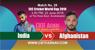28th Match Afghanistan vs India WorldCup 2019 Today Match Prediction