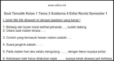 Soal Tematik Kelas 1 Tema 3