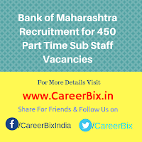 Bank of Maharashtra Recruitment for 450 Part Time Sub Staff Vacancies