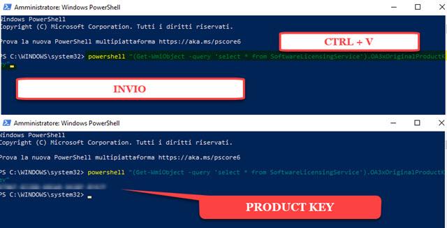 ricavare il product key di Windows con PowerShell