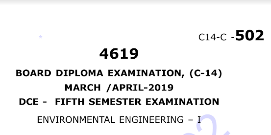 Diploma Environmental Engineering-1 Previous Question Paper c14 Civil March/April-2019