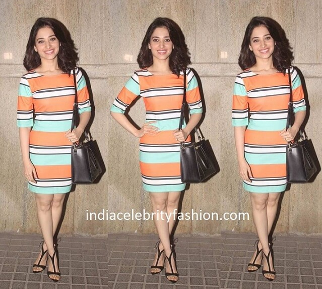 Tamannaah Bhatia in Benetton Dress for Oopiri Screening