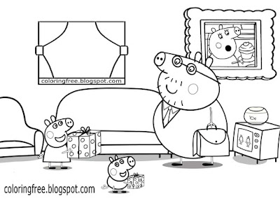 Picture of Suzie and George cute piglet family cartoon Peppa Pig coloring pages for children to draw