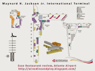 A map of Atlanta airport with Ecco Restaurant