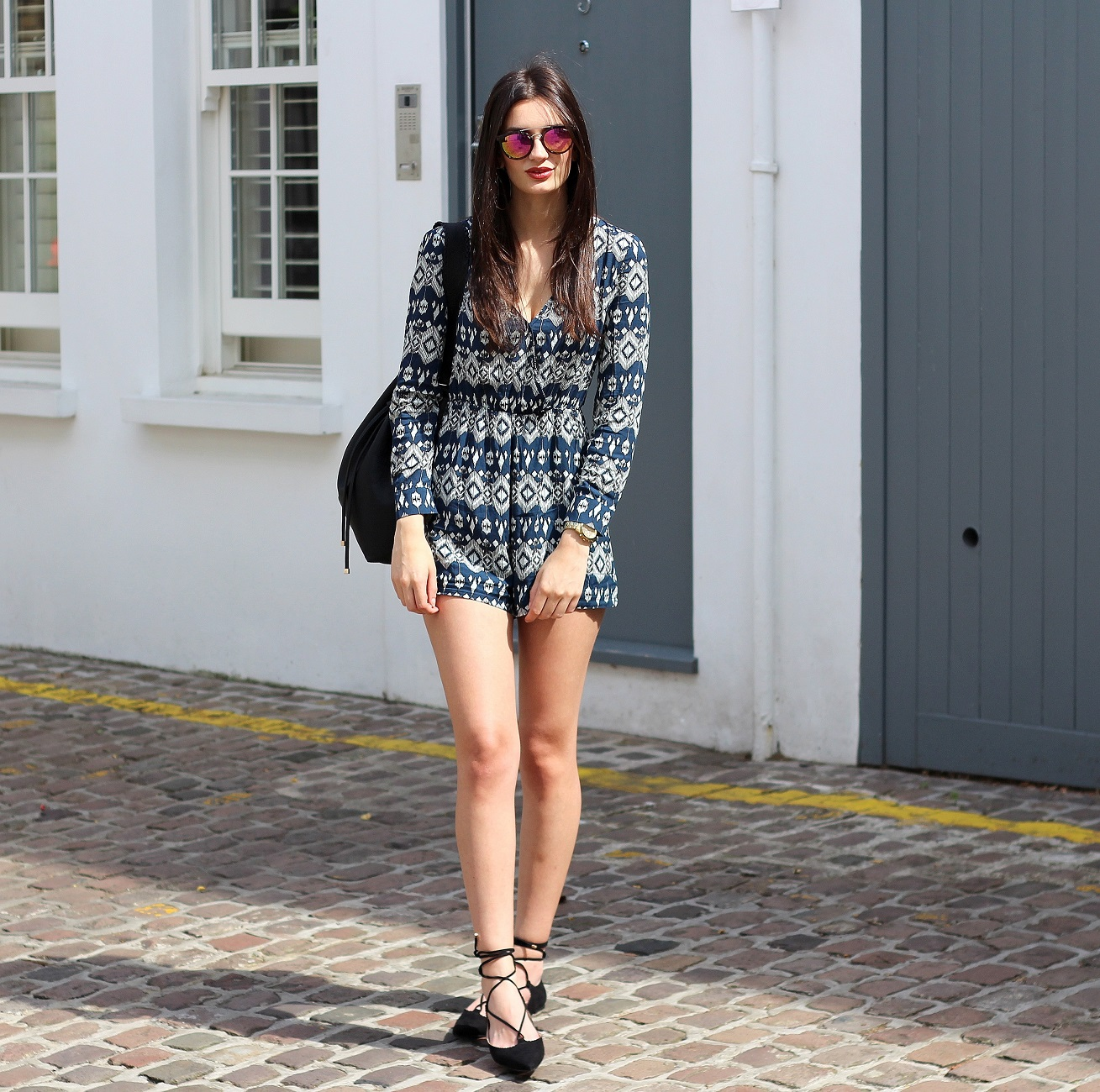 peexo fashion blogger wearing madam rage playsuit and lace up shoes