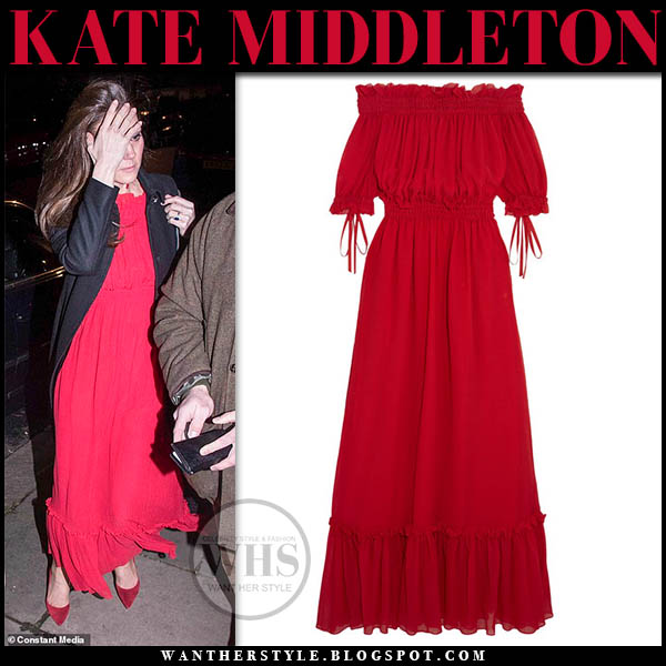 Kate Middleton in red ruffled alexander mcqueen maxi dress, red pumps and black coat royal duchess style january 31