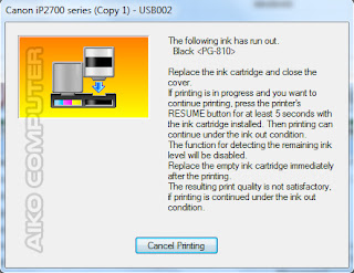 reset, ink has run out, cartridge, tinta hitam, tinta warna, tinta habis, error, printer, canon, ip2770, resume, blinking, lampu berkedip, lampu oranye, lampu kuning, black, pg810, color, cl811
