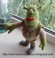 Шрек - игрушка-кукла вязаная крючком. Описание