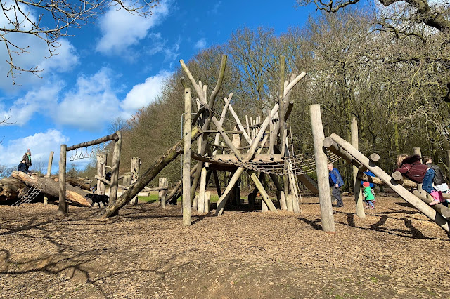 Older children's play area at Weald Country Park is a big wooden play structure with slide