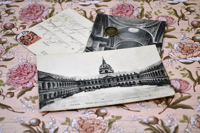 February 2020 = vintage postcards on a floral background