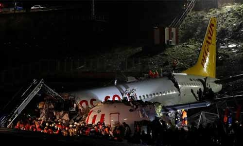Plane skids off runway and breaks up in Istanbul, 120 injured