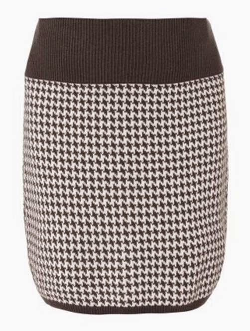 Seraphine's Houndstooth Knitted Skirt