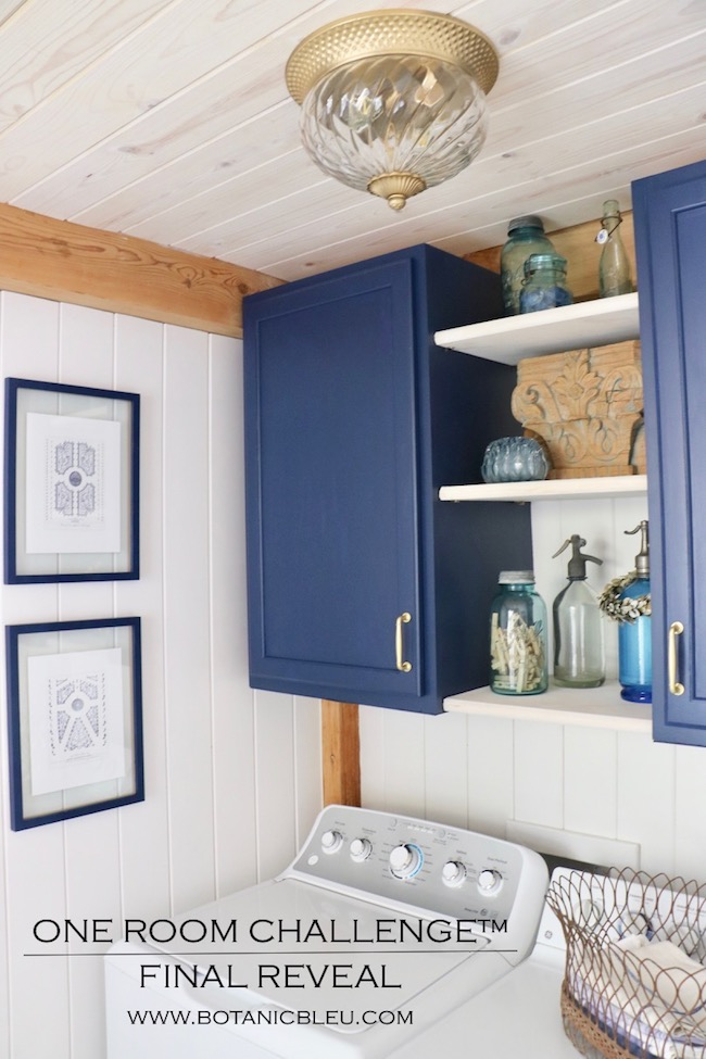 French Country Laundry ORC™ Reveal Navy Cabinets Open Shelves Wood Ceiling
