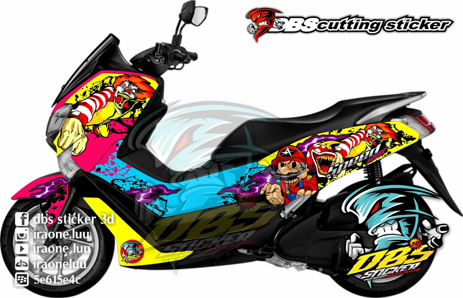cutting sticker  motor yamaha nmax zombie