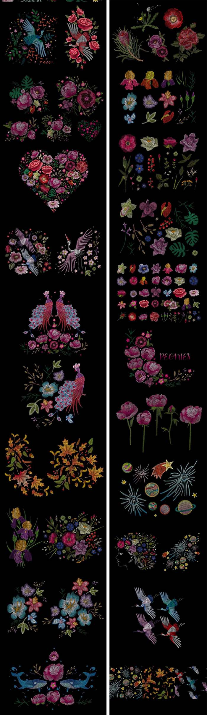 20+ Modern Flowers Embroidery Collection