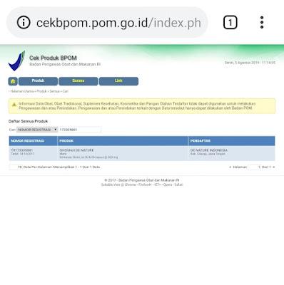 Produk sudah terdaftar di BPOM