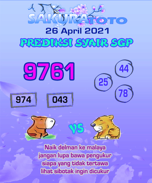 Syair SGP Senin 26 April 2021 -