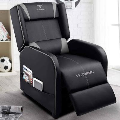 Vitesse - Silla reclinable para videojuegos, estilo de carreras, un solo sillón ergonómico, de piel sintética, moderna, reclinable, asiento de cine en casa, para sala de estar y juegos