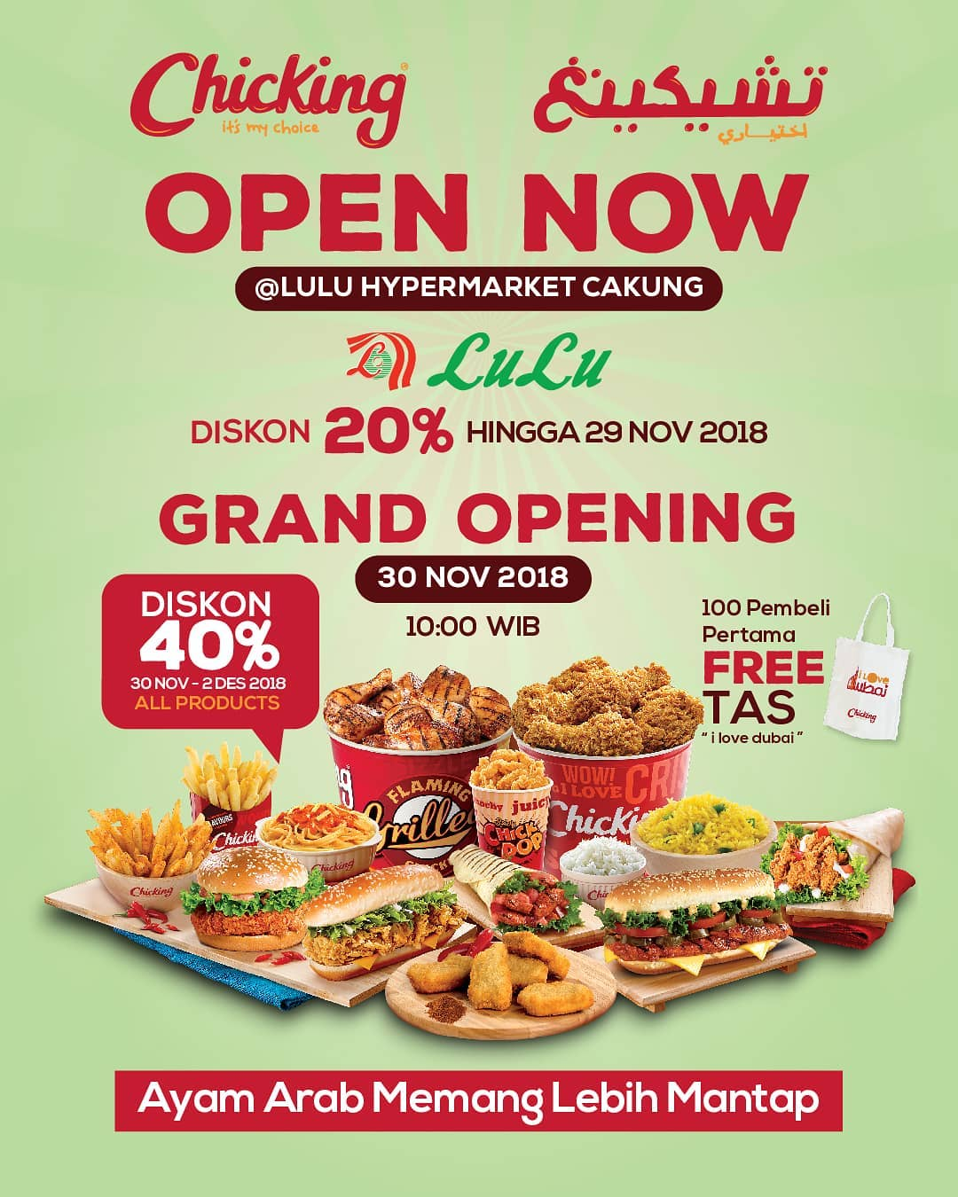 LuluStore - Promo Opening & Diskon 40% di Chicking Indonesia (s.d 02 Des 2018)