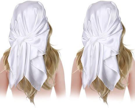 Solid White Satin Scarves