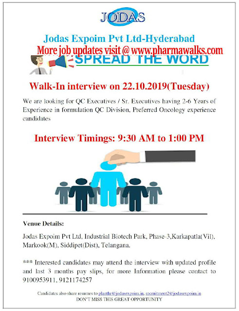 Jodas Expoim Pvt Ltd - Walk-in interview for Executive / Sr. Executive - Quality Control on 22nd October, 2019