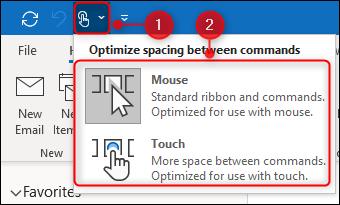 """خيارات """"Touch / Mouse Mode""""."""