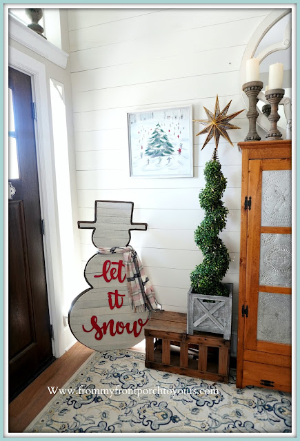 Cottage- Farmhouse- Christmas- Foyer-Snowman-Winter-Artwork-From My Front Porch To Yours-