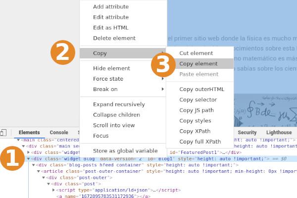 Copiar el texto que quieres pegar en la home de blogger