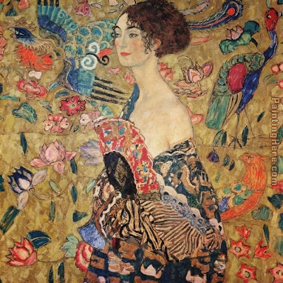 Lady with hand fan Gustav Klimt ~ Fashion Hand  Fans