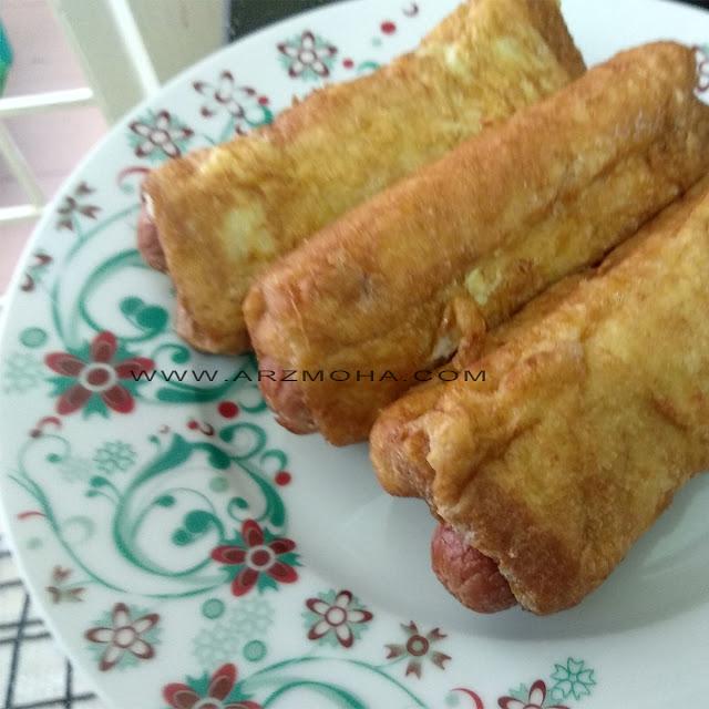 roti sosej gulung, roti sosej roll, roti sosej gulung dengan cheese, resipi hotdog cheese roll,