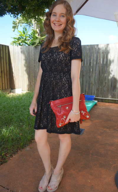 Black lace dress red balenciaga clutch wedges valentine's dinner outfit