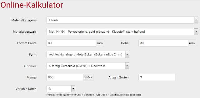 Online-Kalkulator für einfache und schnelle Etiketten-Bestellung
