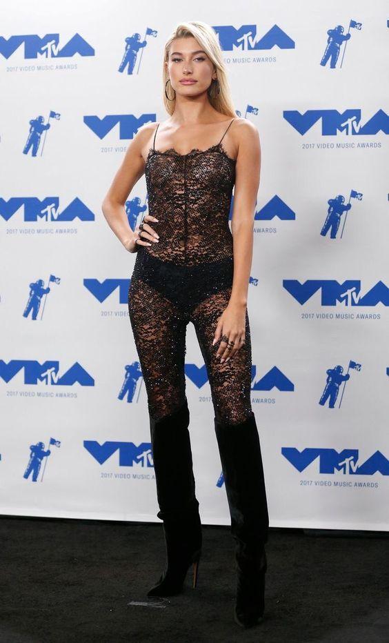 Hailey Baldwin Looks Hot in Transparent Dress