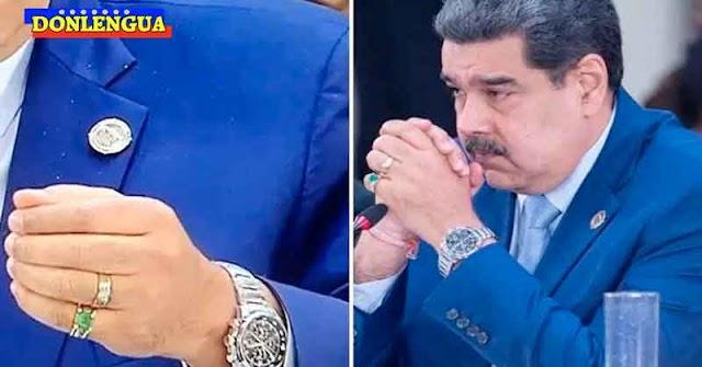 HUMILDEMENTE   Maduro exhibió su anillo de esmeraldas y su Rolex durante la cumbre de la miseria