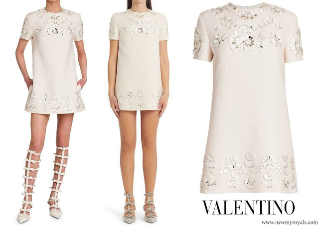Meghan Markle wore Valentino floral-embellished mini shift dress in ivory