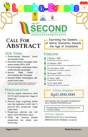 Lomba Menulis Abstrak Nasional The 19th Second UI 2019 Mahasiswa