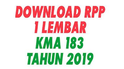DOWNLOAD RPP 1 LEMBAR SESUAI KMA 183 TAHUN 2019