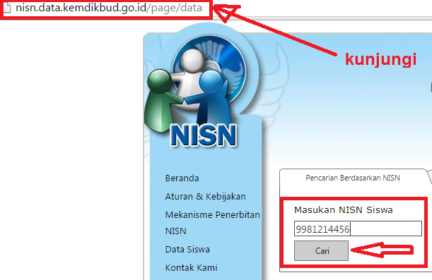 gambar cara cari NISN Siswa berdasarkan NISN