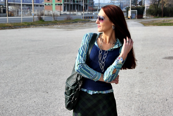 blue green vintage striped shirt