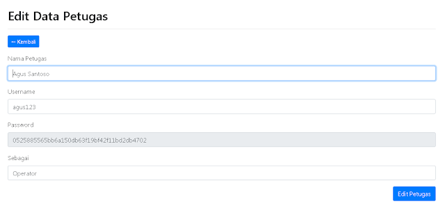 Halaman Edit Data Petugas Aplikasi Inventory