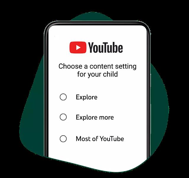 Os pais escolhem um nível de conteúdo para a conta de seus filhos. Imagem: YouTube