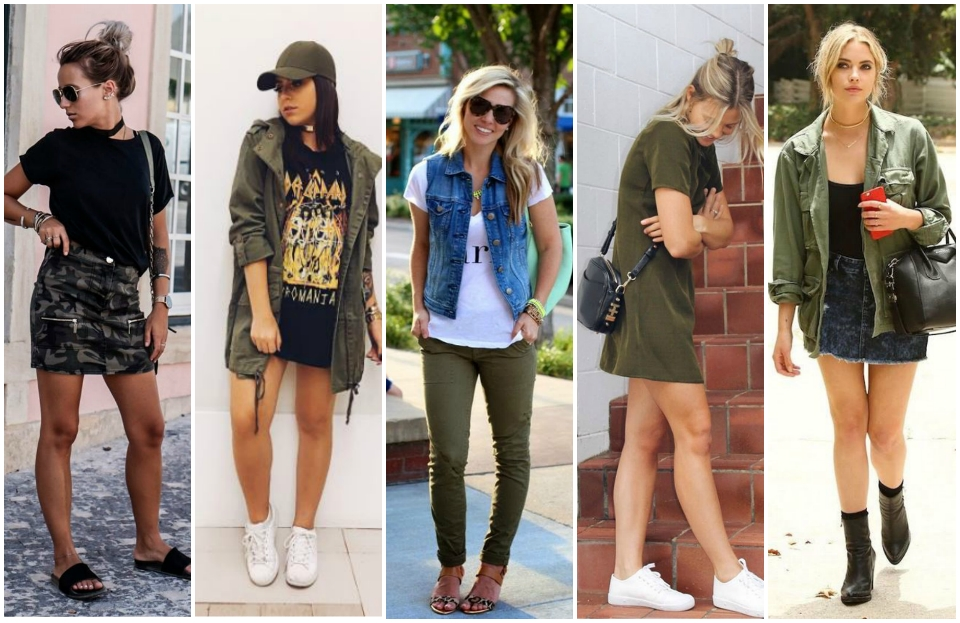 looks verde militar, peças verde militar, inspirações looks