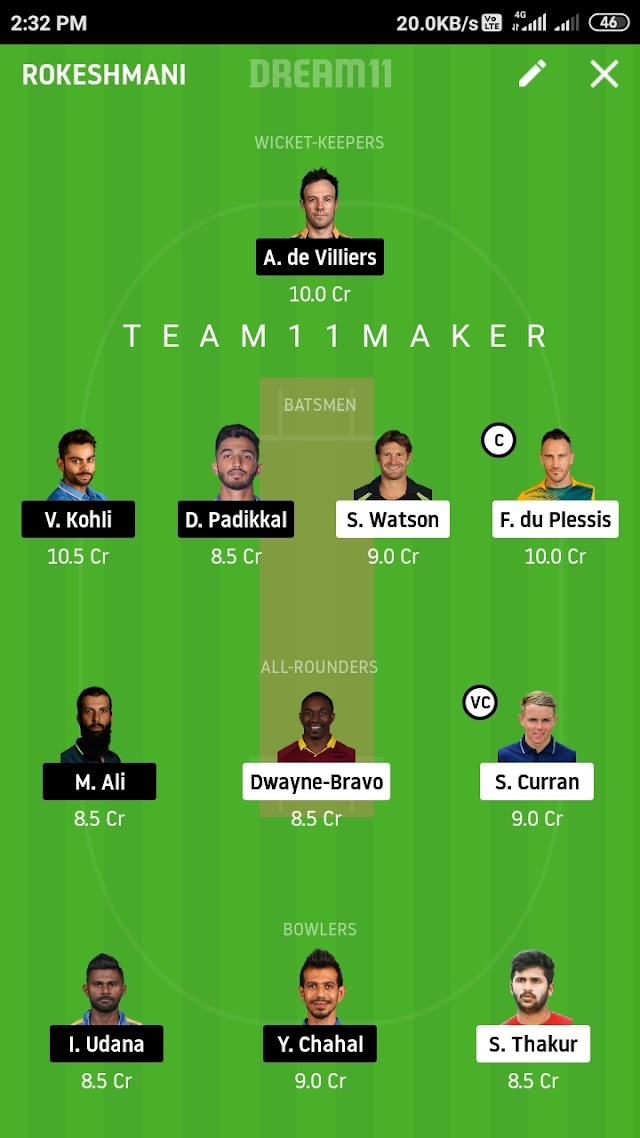CSK VS RCB, Match 24 fantasy 11 prediction