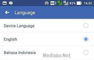 Mengubah Bahasa Facebook Lewat HP