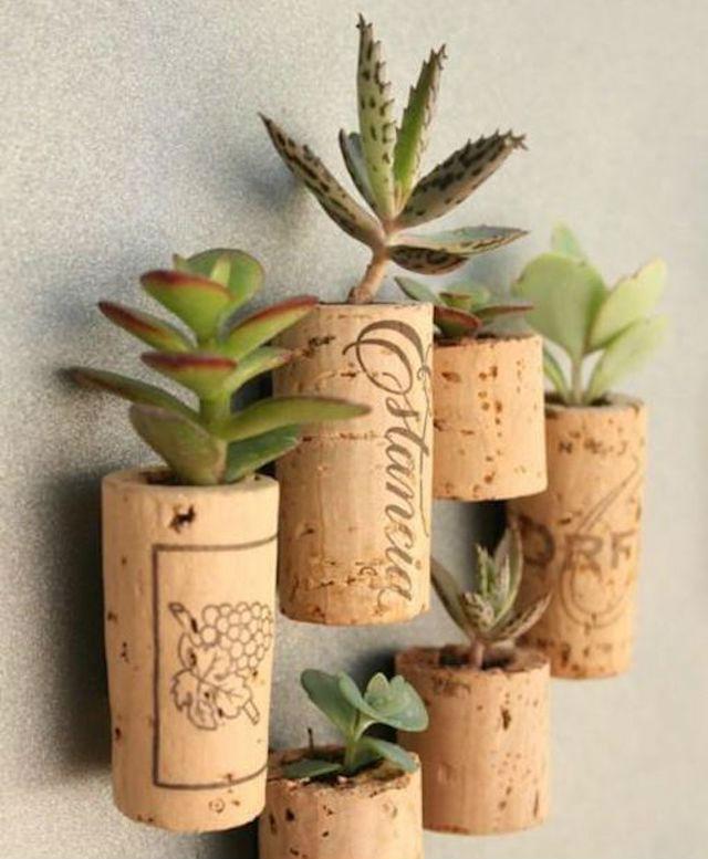 10 ideas sorprendentes para reciclar tapones de corcho, maceteros