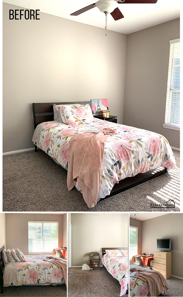 Gray bedroom with bed